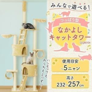 キャットタワー 突っ張り型 大型 QQ80104 梯子ツッパリ 猫用品 猫タワー 麻ひも もこもこ 爪とぎ 多頭飼い おしゃれ|nyanko