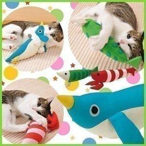 けりぐるみ W23407サカナ・W23408エビ・W23409ペンギン 猫 おもちゃ