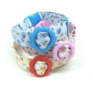 猫 ネコ ねこ キャット 首輪 安全バックル 軽い 負担少ない 手作り ソフト (猫用首輪 お花畑)