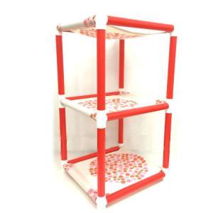 キャットタワー ハンモック 猫 ネコ ねこ 軽量 ニャンモック ベッド 多頭飼い スクエア 正方形 3段 移動簡単 (にゃんぱく3段モック)|nyanpakusengen