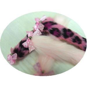 猫 ネコ ねこ じゃらし ジャラシ おもちゃ 付け替え 棒なし 手作り フェイクファー シャカシャカ キッカー リボン (ピンクのシッポ )|nyanpakusengen