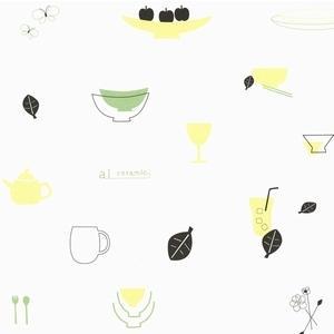 ラッピング包装紙 食器のイラスト nyanya