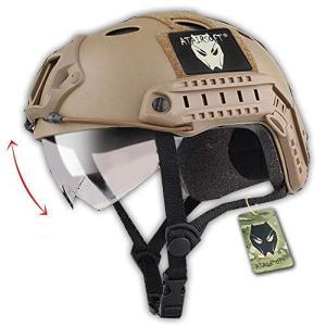 ATAIRSOFT Fast エアソフトアウトドア エアソフトヘルメット米軍風 多機能サバゲーヘルメットバイザー付き ロードバイク用 オートバイ用 作|o-k-you