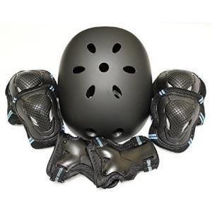 edunamay ヘルメット プロテクター 3点(肘・膝・手首)セット スケボー (青, M) o-k-you