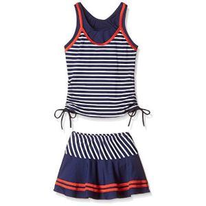 ヤング(Young) 水着 子供 女の子 (8-14歳) 子供水着 2点セット かわいい スイミング ウェア ボーダー スカート ストライプ セパレー o-k-you