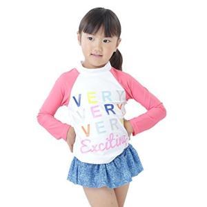 【Peach Kids】ピンクデニム 長袖 ラッシュガード 子供 水着 女の子 セパレート (S,90cm) o-k-you