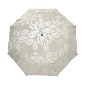 マキク(MAKIKU) 折りたたみ傘 ワンタッチ 日傘 自動開閉 花柄 葉 リーフ ホワイト 耐強風 晴雨兼用 収納ケース付 o-k-you