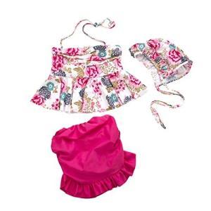 【Tubame-JP】 女の子 超人気ビキニ水着 フリル水着 帽子付 キッズ水着 温泉 超可愛い3点セット 90-130(5サイズ) o-k-you
