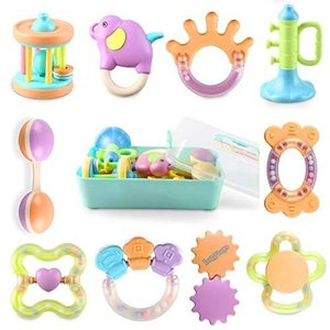 Bemixc 歯固め 新生児 おもちゃ 10pcs 音の出る赤ちゃん おもちゃ 0歳 ベビー ガラガラ 出産祝い o-k-you