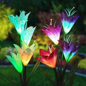 ソーラーフラワーライト ユリ 埋込型花ライト 百合 埋め込み式 防水 7色変換ユリ LEDソーラーライト ソーラ ー充電式 庭園灯 玄関ライト 屋外照 o-k-you