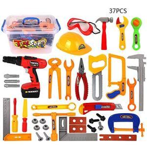 Langba ままごと遊び 修理キット 工具おもちゃセット 作業道具 修理キット 遊んで勉強  ホームツール 大工さん 工具箱 知育玩具 子供向け 男 o-k-you