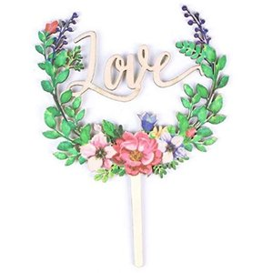 HAMILO ケーキトッパー 結婚式 文字 飾りつけ ウェディング 製菓 デコレーション 花モチーフ (Love) o-k-you