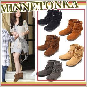 ミネトンカ モカシン ブーツ 正規品 MINNETONKA バックジップ ショート ブーツ フリンジ フリンジブーツ|o-kini