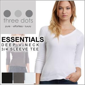 海外セレブ 人気 デコルテ 美しい シルエット three dots スリードッツ Tシャツ カット...