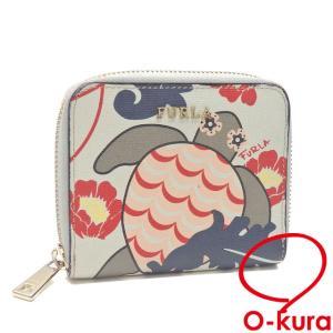 値下げしました フルラ ラウンドファスナー 折財布 レディース レザー マルチカラー フラワー カメ 花 亀 中古 o-kura