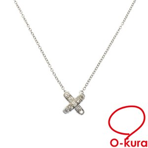 ティファニー クロス ステッチ ネックレス レディース ダイヤモンド Pt950 3.9g プラチナ 中古 o-kura