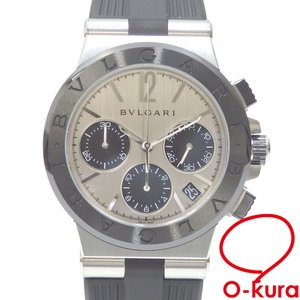 ブルガリ 腕時計 ディアゴノ クロノグラフ デイト メンズ オートマ SS ラバーベルト DG37SCCH 自動巻き 中古|o-kura