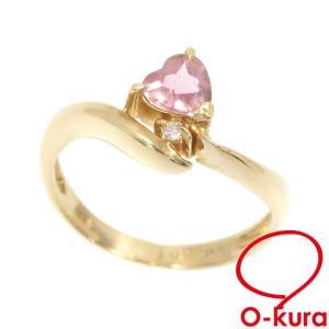 【値下げしました】中古 色石 ダイヤモンド ハートモチーフ リング レディース