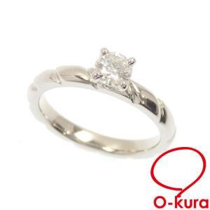 値下げしました ショーメ ダイヤモンド リング レディース Pt950 8号 0.3ct 4.4g プラチナ 指輪 1粒 トルサード ソリテール 中古|o-kura