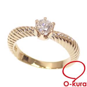 値下げしました ダイヤモンド リング レディース K18YG 9号 0.302ct 3.8g 指輪 18金 イエローゴールド 750 1粒 中古|o-kura