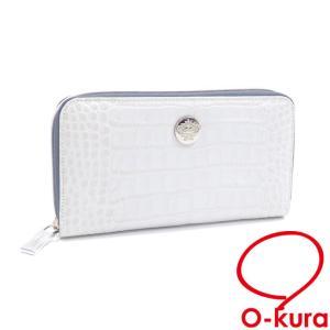 値下げしました オロビアンコ ラウンドファスナー 長財布 メンズ ホワイト 白 クロコ調型押し 中古|o-kura
