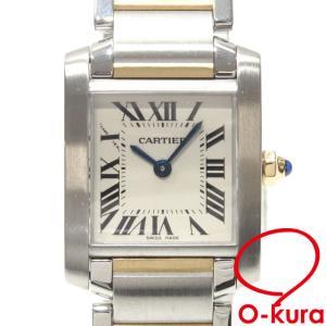 カルティエ 腕時計 タンクフランセーズ SM ボーイズ クォーツ SS YG W51007Q4 電池式 レディース メンズ 中古|o-kura