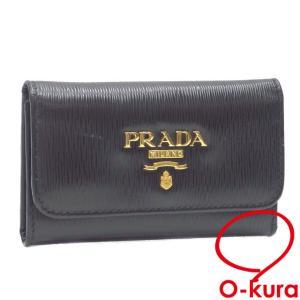 プラダ 6連 キーケース レディース ネロ ブラック 黒 カーフレザー 1PG222 革 鍵入れ 六連 ヴィッテロムーブ 中古|o-kura