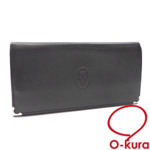 カルティエ 二つ折り 長財布 マストライン ブラック ボルドー レザー L3000583 レディース メンズ 男女兼用 2つ折り 中古|o-kura