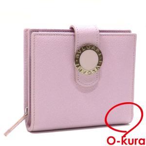 ブルガリ 二つ折り 財布 レディース ピンク レザー 革 2つ折り ラウンドファスナー 中古|o-kura
