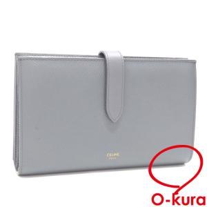 セリーヌ 二つ折り 長財布 ラージストラップ ウォレット レディース グレー 灰色 レザー 革 中古|o-kura