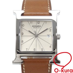 エルメス 腕時計 Hウォッチ メンズ クォーツ SS 革ベルト HH1.810 電池式 □G刻印 2003年頃製 中古|o-kura