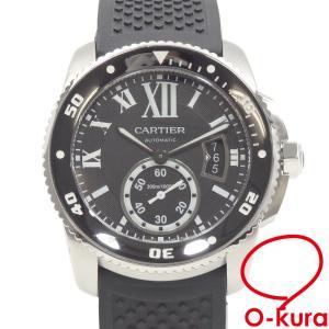 カルティエ 腕時計 カリブル ドゥ カルティエ ダイバー メンズ オートマ SS ラバーベルト W7100056 自動巻き ブラック 黒 中古|o-kura