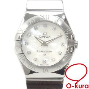 オメガ 腕時計 コンステレーション レディース クォーツ SS ダイヤモンド 123.10.24.60.55.001 電池式 ホワイトシェル文字盤 中古|o-kura