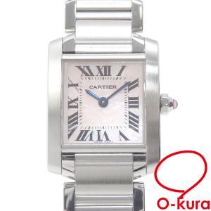 カルティエ 腕時計 タンクフランセーズ SM レディース クォーツ SS W51028Q3 電池式 ピンクシェル文字盤 中古|o-kura