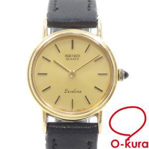 セイコー 腕時計 エクセリーヌ レディース クォーツ K14YG SS 革ベルト 2320-0380 電池式 中古|o-kura