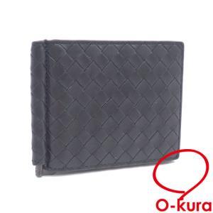 ボッテガ ヴェネタ マネークリップ式 二つ折り 札入れ イントレチャート メンズ ブラック 黒 ラムスキン レザー 編み込み 財布 中古|o-kura