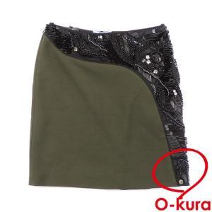 値下げしました プラダ ビジュー付き スカート レディース ひざ丈 中古|o-kura