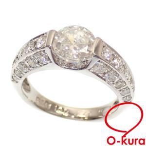 値下げしました ダイヤモンド リング レディース Pt900 9号 1.00ct/0.70ct 5.8g 指輪 プラチナ 中古|o-kura
