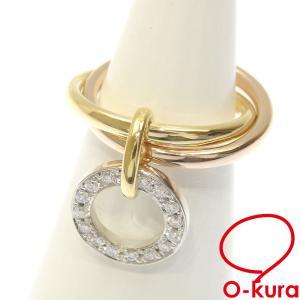 ダイヤモンド リング レディース K18YG/WG/PG 3号 0.16ct 5.4g 指輪 750 18金 スリーカラーゴールド ピンキー 中古 o-kura