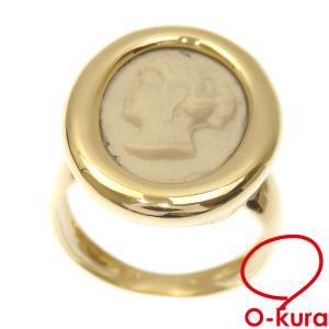 カメオ リング レディース K18YG 10号 6.3g 指輪 750 18金 イエローゴールド 中古 o-kura