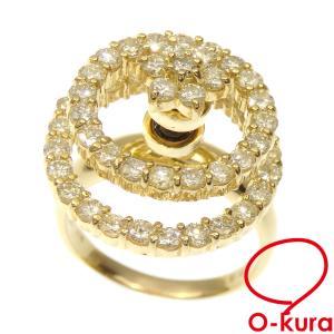 ダイヤモンド リング レディース K18YG 12号 2.00ct 8.3g 指輪 750 18金 イエローゴールド 回転 中古 o-kura
