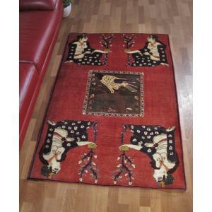 ギャッベ ギャベ/カシュガイ、絨毯のような細かな織、リビングサイズ 167×112cm o-moon
