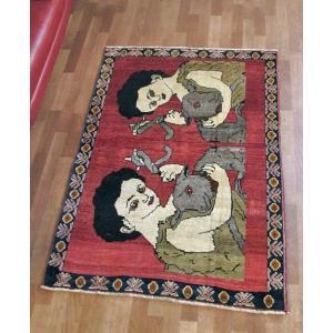 ギャッベ ギャベ/カシュガイ、絨毯のような細かな織、アクセントラグサイズ 158×107cm o-moon