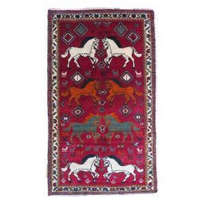 ギャッベ ギャベ/カシュガイ、絨毯のような細かな織、アクセントラグサイズ 165×95cm o-moon