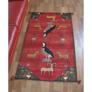 ギャッベ ギャベ/カシュガイ、絨毯のような細かな織、アクセントラグサイズ 162×101cm o-moon