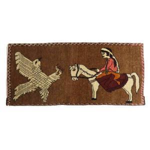 ギャッベ ギャベ/カシュガイ、絨毯のような細かな織、アクセントラグサイズ 155×70cm o-moon