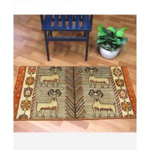 ギャッベ ギャベ/カシュガイ、絨毯のような細かな織、玄関マットサイズ 64×117cm|o-moon