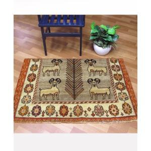 ギャッベ ギャベ/カシュガイ、絨毯のような細かな織、玄関マットサイズ 81×119cm|o-moon