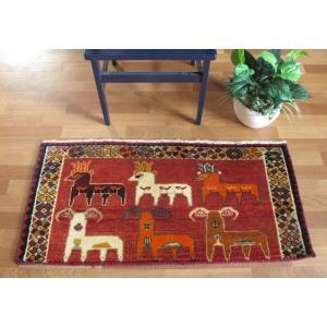 ギャッベ ギャベ/カシュガイ、絨毯のような細かな織、玄関マットサイズ 53×111cm|o-moon