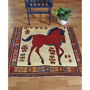 ギャッベ ギャベ/カシュガイ、絨毯のような細かな織、玄関マットサイズ 105×119cm|o-moon